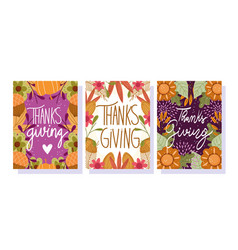 happy thanksgiving day greeting cards and vector image