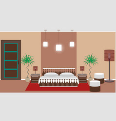 Hotel bedroom interior including light equipment vector
