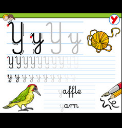 How to write letter y worksheet for kids vector