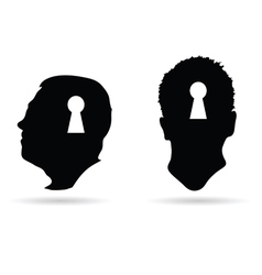 human head and keyhole on it vector image