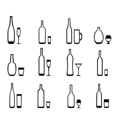 Icons bottles with glasses vector image