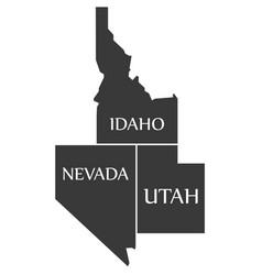 Idaho - nevada - utah map labelled black vector