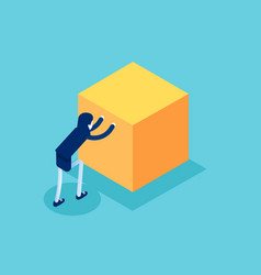 Isometric businesswoman push cube box concept vector