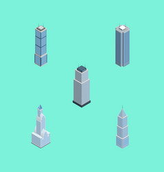 Isometric skyscraper set of exterior cityscape vector