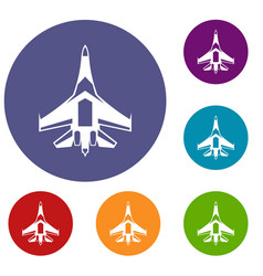 Jet fighter plane icons set vector