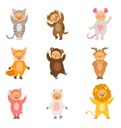 kids party costumes of funny cartoon animals vector image