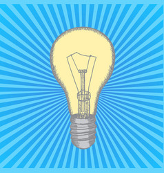lamp bulb hand draw sketch vector image