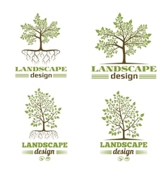 Landscape design company emblems tree with roots vector
