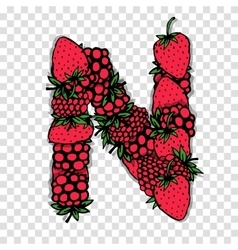 Letter N made from red berries sketch for your vector