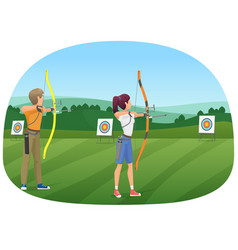 man and woman standing with bows and aiming to the vector image