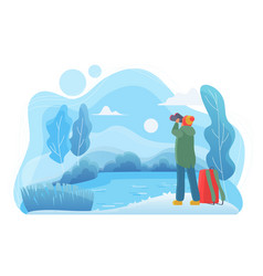 man traveler with binoculars flat vector image