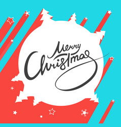 merry christmas lettering flat simple landscape vector image