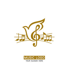 Music logo treble clef on a dove background vector