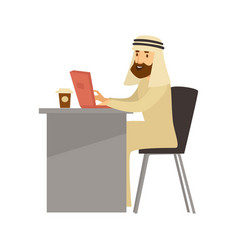 Muslim man in traditional clothes works on laptop vector