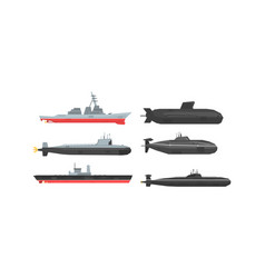 naval combat ships and submarines collection vector image