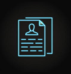 neon personal data collection icon in line style vector image