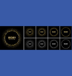 New year 2021 disco night party background set vector