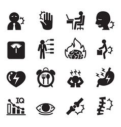 Office syndrome icons set vector