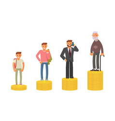 old and young man stand on stacks of gold coins vector image