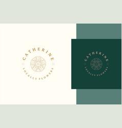 Outline emblem logo design elegant flower line vector