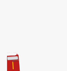 paint roll covering white copy space red area vector image