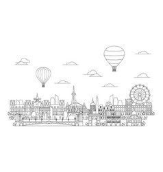 paris skyline line art 4 vector image