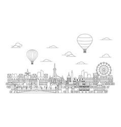 Paris skyline line art 4 vector