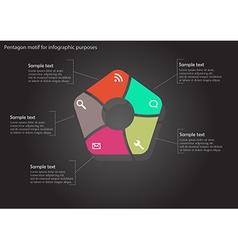Pentagon infographic on black background vector