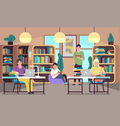 people in library young students men and vector image