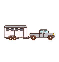 pickup horse trailer vector image