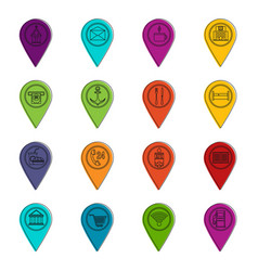 Points of interest icons doodle set vector