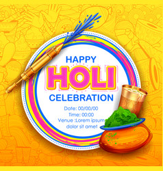 Powder color gulal for happy holi background vector