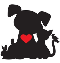 Puppy kitten silhouette vector