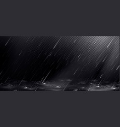 Rain falling water drops and puddle ripples vector