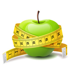 Realistic green apple with measure tape fitness vector
