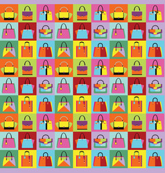 Retro pop art women purse and hand bag set pattern vector