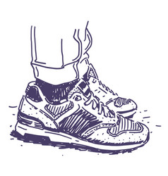 retro sneakers hand drawn vector image