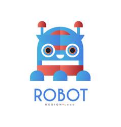 robot logo design element for company identity vector image