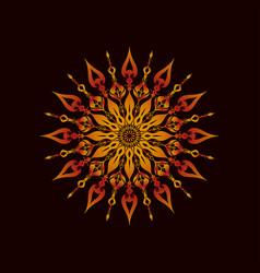 Round gradient mandala on a dark background vector