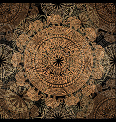 seamless dark pattern with ethnic elements and vector image