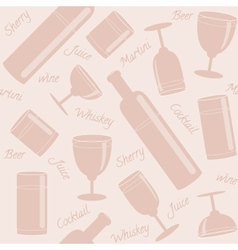 Seamless pattern with drinks and text vector image