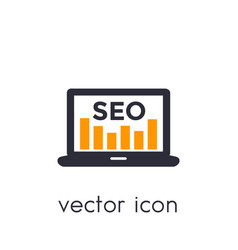 Seo icon with laptop and analytics on white vector