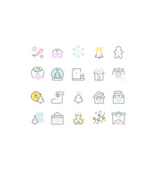 Set line icons christmas vector
