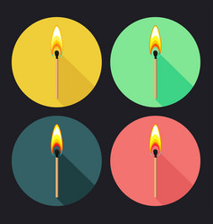 set of round flat icons with burning match on dark vector image