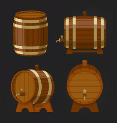 set old wooden wine or beer barrel or oak keg vector image