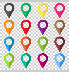 set pin icons location sign in flat style vector image