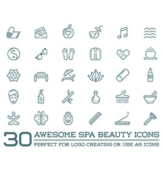 set spa beauty yoga sport elements can be used vector image