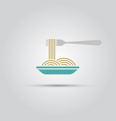 spaghetti and fork isolated colored icon vector image