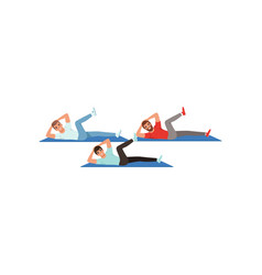 Sporty young guys doing twist crunches exercises vector