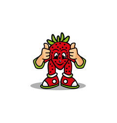 Strawberry fruit mascot design vector